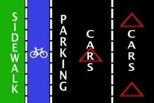 Physically Separated Bike Lanes - Diagram